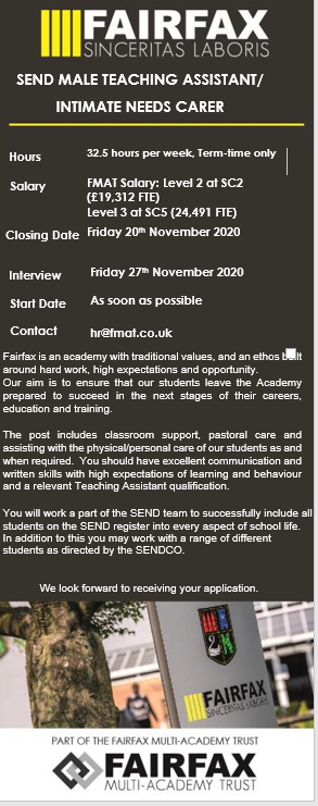 Male Teaching Assistant - Intimate Needs Carer